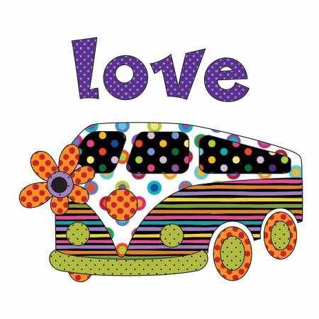 9 3/4in x 8 1/2in Love Bus Side Colorworks Concepts Applique