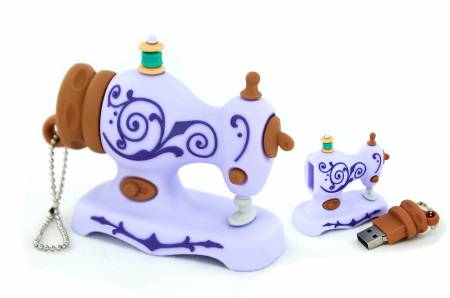 USB Flash Drive Lilac Antique Sewing Machine 4GB