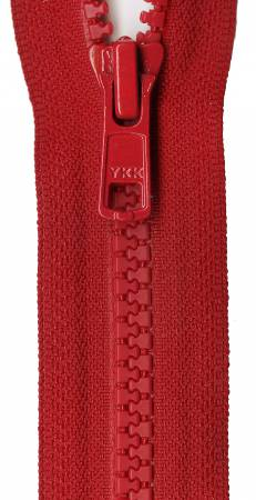 Vislon 1-Way Separating Zipper 24in Red
