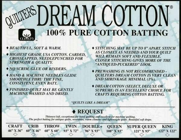 Quilters Dream Cotton Request White Double Size 93in x 96in