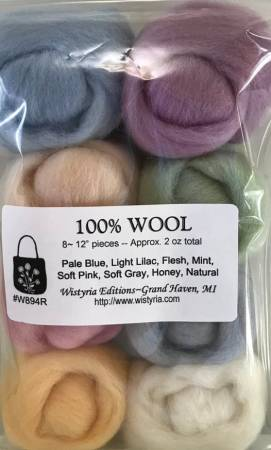 Wistyria Editions Wool Roving Assortment Soft Pastels W894R