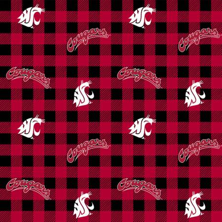 NCAA-Washington State Cougars Buffalo Plaid Cotton