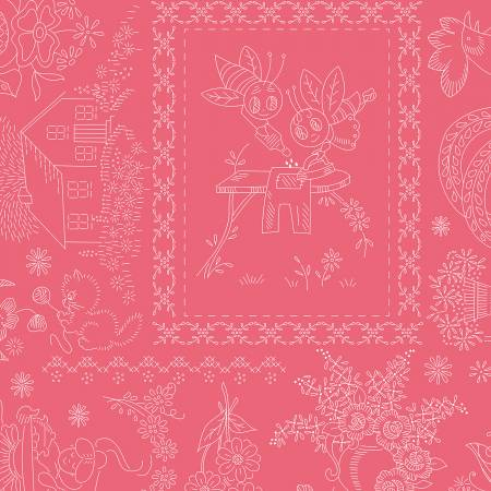 Granny Chic Vintage Embroidery Pink