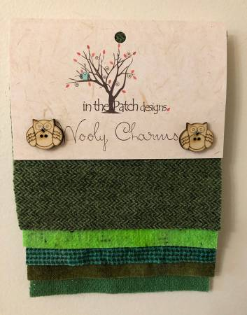 Wooly Charms 5in x 5in Greens 5ct