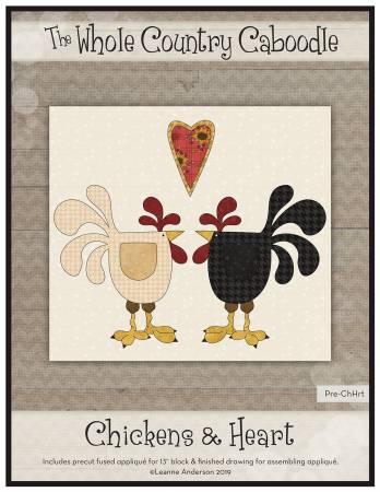 Chickens & Heart Precut Fused Applique Pack