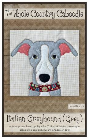 Italian Greyhound Grey Precut Fused Applique Pack