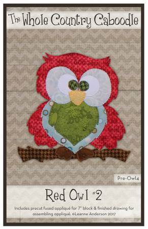 Red Owl 2 Red Lettering Precut Fused Applique Pack