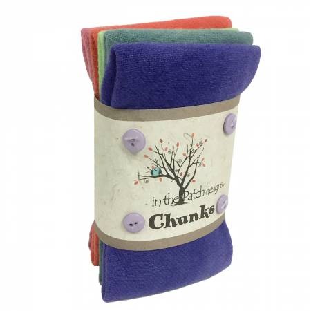 Wool Chunks 5pc 9in x 10in Rainbow Sherbet