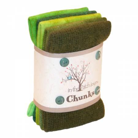 Green Wool Chunks 5pc 9in x 10in