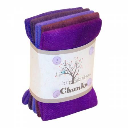 Purple Wool Chunks 5pc 9in x 10in