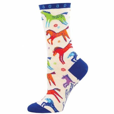 Socks - Dancing Horses Ivory Heather