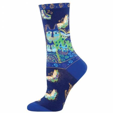 Socks - Indigo Cats Blue