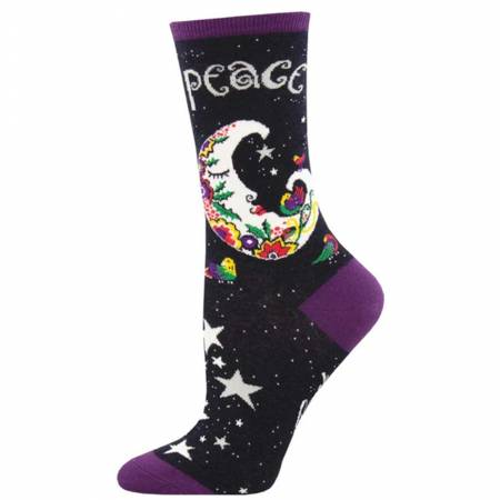 Peaceful Moon Black Socks