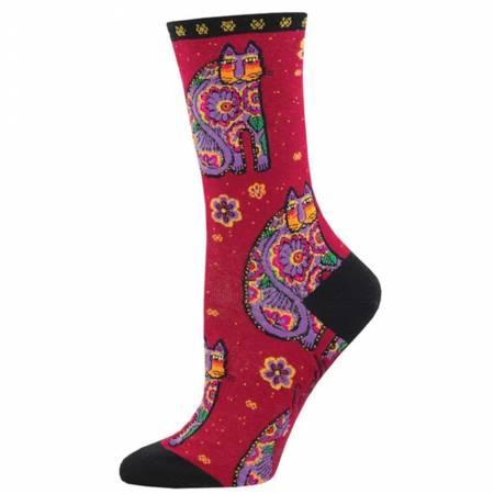 Socks - Thanks Cat Red