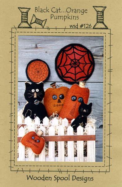 Black Cat ...Orange Pumpkins Kit by Wooden Spool
