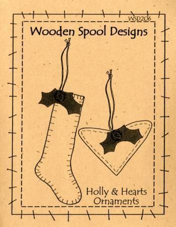 Holly & Hearts Ornaments Penny Rug