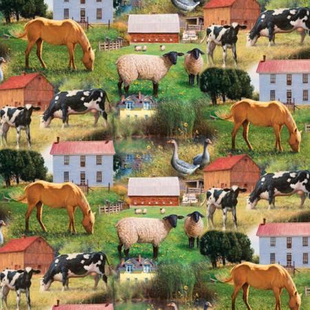 Farm Scene from Wild Wings Fabric #WW-3163-9C