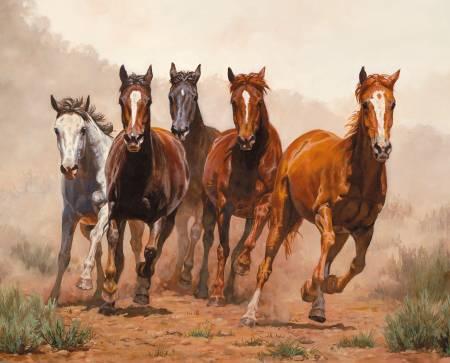 David Textiles - Four Seasons-Break Away Wild Horses Digital Panel 36in - WW32210C1 - W29