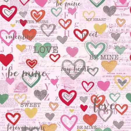 Vintage Valentine Pink Hearts on Newsprint