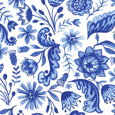 Blue Porcelain, White Toss Floral