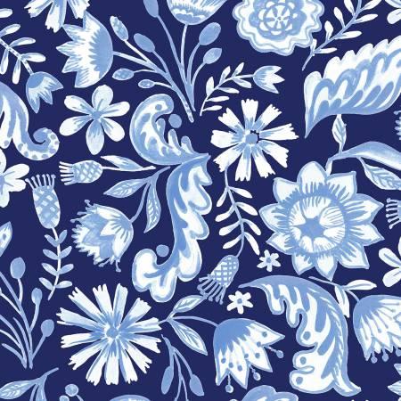 Blue Porcelain, Light Navy Floral
