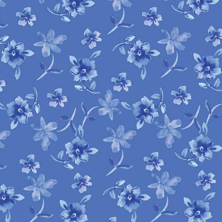 Blue Porcelain, Blue Toss Flowers