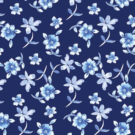 Blue Porcelain, Light Navy Flowers