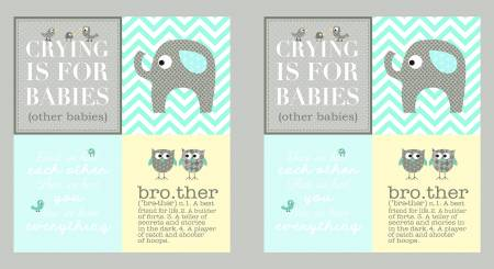 BROTHER SISTER TAUPE AND AQUA BOY PANEL Y2143-33