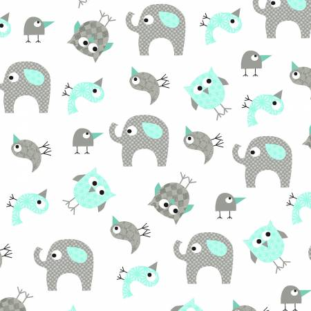 BROTHER SISTER WHITE W/ AQUA AND TAUPE ANIMALS Y2145-33