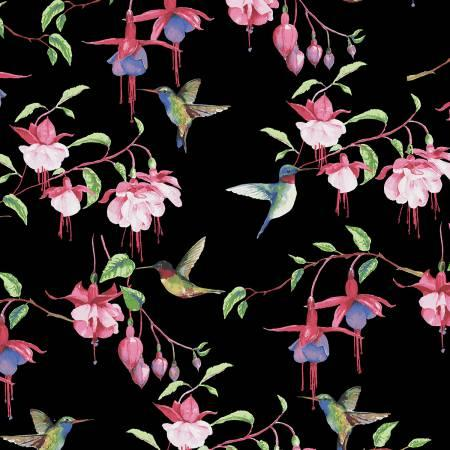Clothworks Fuchsias and Hummingbirds Black Fuchsias & Hummingbirds Y2354-03