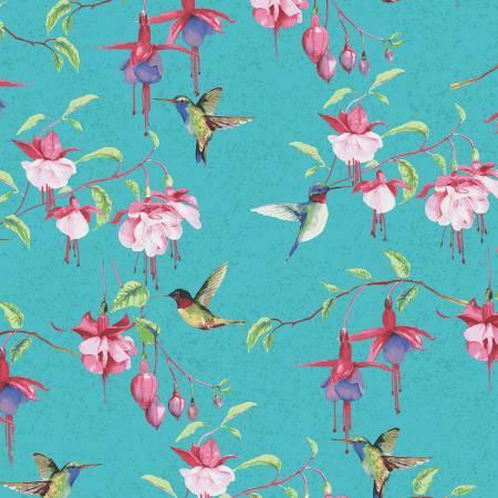 Clothworks Fuchsias and Hummingbirds Teal Fuchsias & Hummingbirds Y2354-104