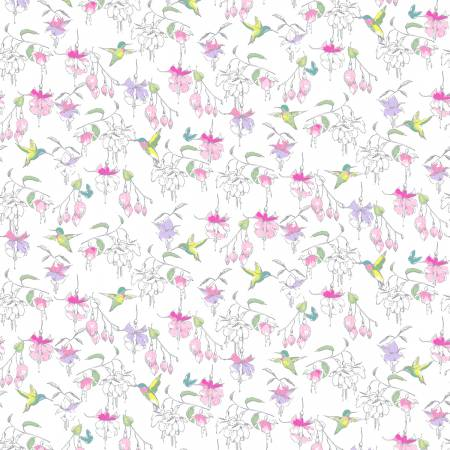 Clothworks Fuchsias and Hummingbirds White Fuchsias & HummingbirdsY2356-01