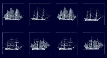 Dark Navy Block Boats Sailboat Panel