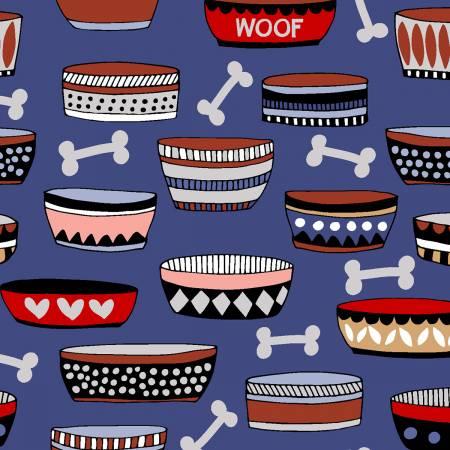 Playful Pups Bowls and Bones Royal Blue