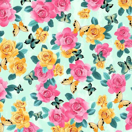 Pink and Yellow Flowers and Butterflies on Light Turquoise:  A Beautiful Day by Skipping Stones Studio for Clothworks