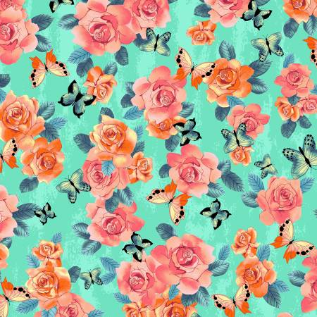 Coral and Orange Flowers and Butterflies on Turquoise:  A Beautiful Day by Skipping Stones Studio for Clothworks