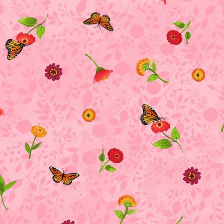 Zinnias in Bloom Y2782-42 Ditsy Floral Pink