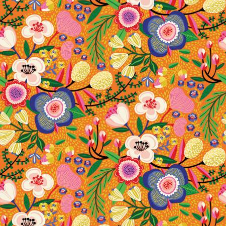 Orange Floral Make Today Awesome Blooms by Helen Dardik