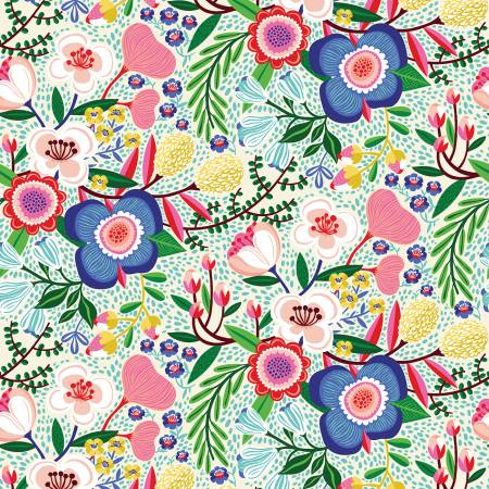 Floral Fabric - Cream Make Today Awesome Collection by Clothworks