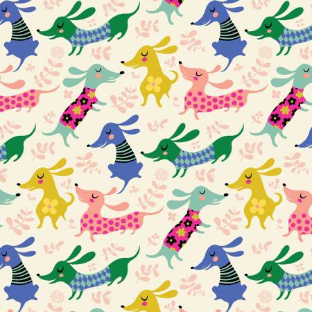 Cream Dachsunds Make Today Awesome by Helen Dardik