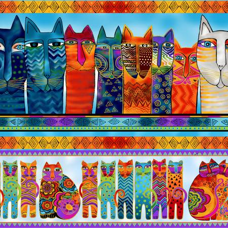 Multi Feline Frolic Pic Stripe w/Metallic Y2797-55M