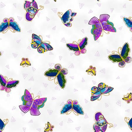 Feline Frolic Y2800-1M White Butterflies Metallic