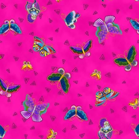 Feline Frolic Y2800-77M Fuchsia Butterflies Metallic