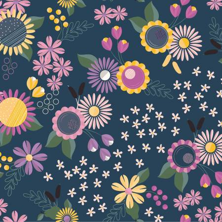 Floral Fat Quarter - Light Navy Rosewood Collection by Clothworks