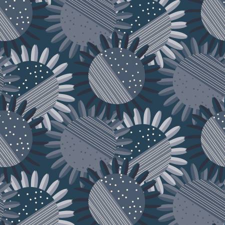 Flower Fat Quarter - Light Navy Rosewood Collection by Clothworks
