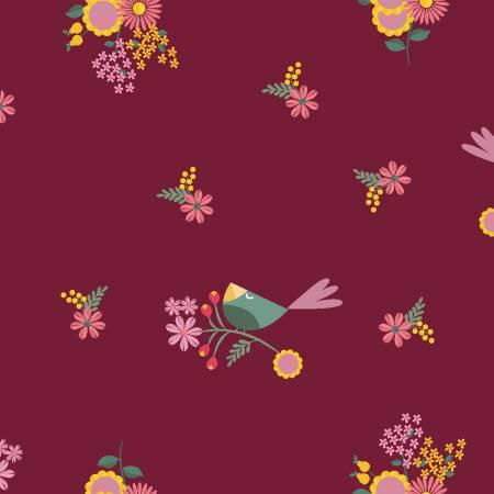 Wine Floral Birds y2816-48
