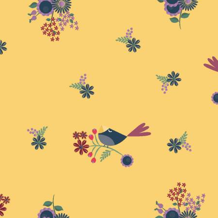 Floral Birds Fat Quarter - Dark Gold Rosewood Collection by Clothworks