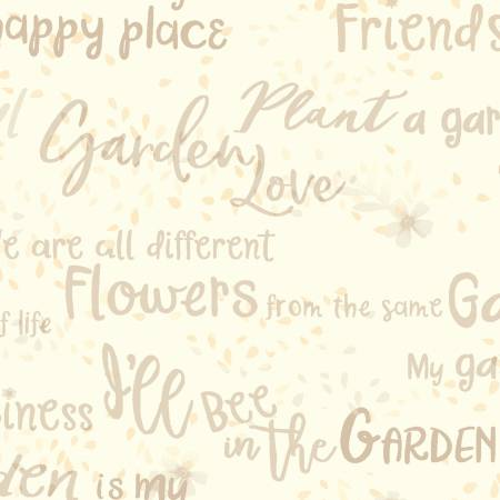 Garden Notes Words Cream