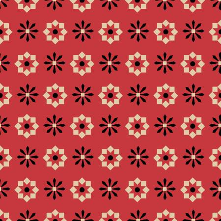 Geometric Flower Fat Quarter - Red Wigglebutts Collection by Clothworks
