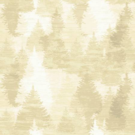 Clothworks - Wild and Free - Lodge Tree Collage - Y2851 60 - Butter